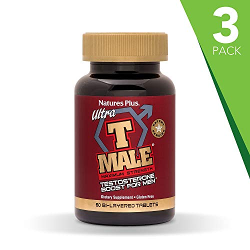 NaturesPlus Ultra T Male, Extended Release (3 Pack) - 60 Bilayer Tablets - Natural Testosterone Booster for Men - Healthy Sexual Function, Muscle Gain - Vegetarian, Gluten-Free - 90 Total Servings