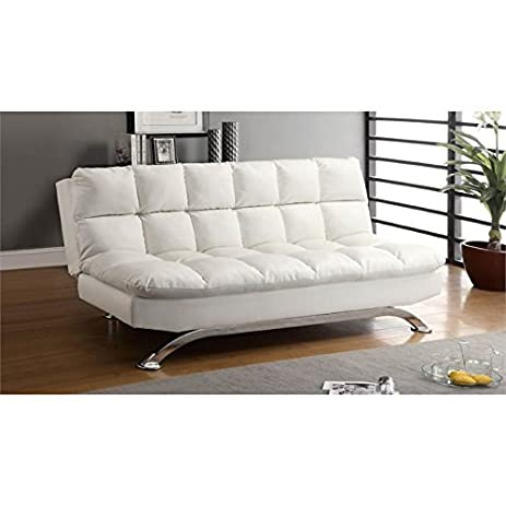 Attrayant Furniture Of America Preston Tufted Leather Sleeper Sofa Bed In White