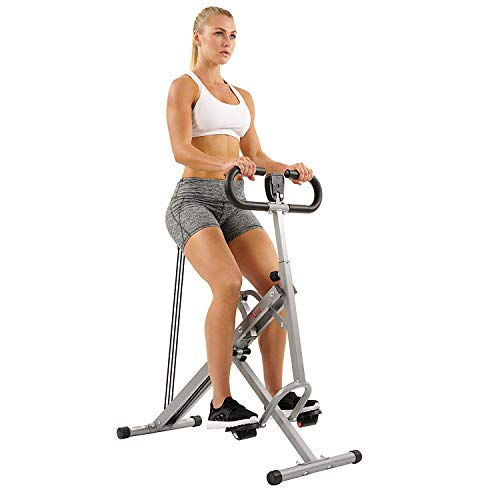Sunny Health & Fitness Squat Assist Row-N-Ride Trainer for Squat Exercise and Glutes Workout with Included Equipment Instructional and Training - Cardio Machines
