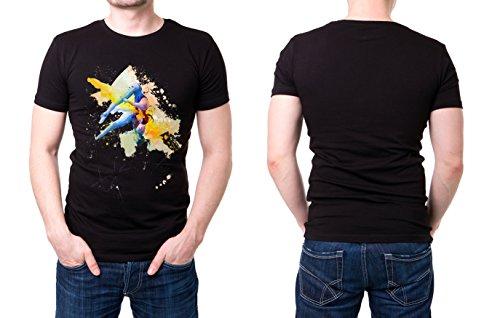 Synchronspringen schwarzes modernes Herren T-Shirt mit stylischen Aufdruck