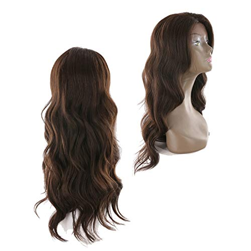 Tress Synthetic Wig - X-tress New Fashion Dark Brown Long Wavy Synthetic Lace Front Wig 26'' Christmas Gift Nature Looking Glueless Heat Resistant Side Part Wig for Women Party Custom Costume(#4)