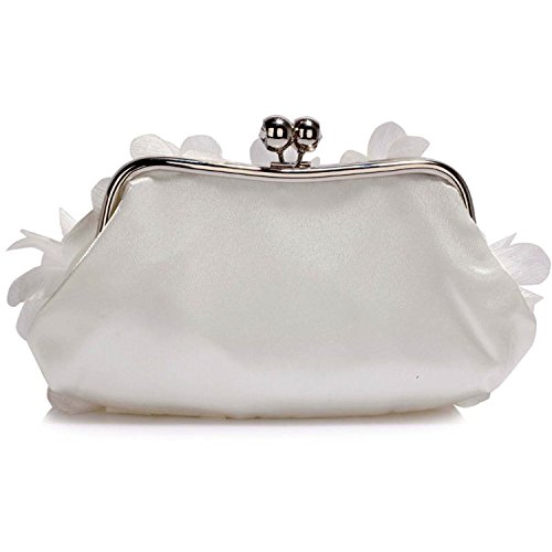 Flower Bag Floral Diamante Zarla Ladies Baguette Party Women New Clutch Bridal Ivory Evening Prom 4BxxwqSH6