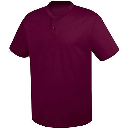(High Five Two-Button Essortex Jersey-Youth,Maroon,Large)
