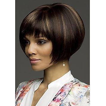 GSP-grado superior sintética marrón recta corta peluca bob peinado negro para las mujeres