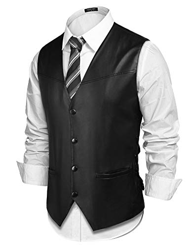 (COOFANDY Mens Vintage Leather Motorcycle Biker Vest Single-Breasted Casual Jacket Vests, Black, XX-Large )