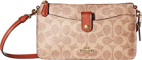 (COACH Women's Signature Coated Canvas Pop Up Messenger B4/Tan Rust One Size)