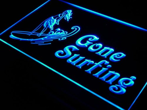 ADV PRO s090-b Gone surfing Surf Lady Wave Neon Light Sign
