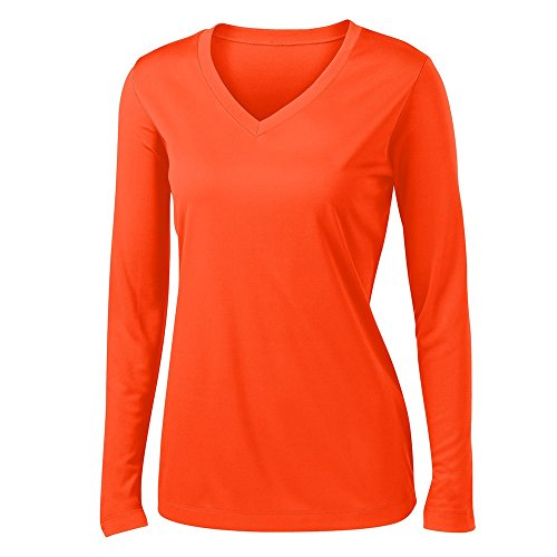 - Clothe Co. Ladies Long Sleeve V Neck Moisture Wicking Athletic Shirt, Neon Orange, M