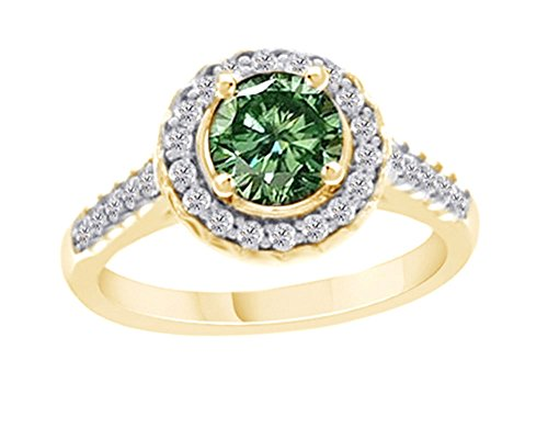 Jewel Zone US 1 Cttw Diamond Green Moissanite Halo Engagement Ring 14K Yellow Gold Over Sterling Silver ()