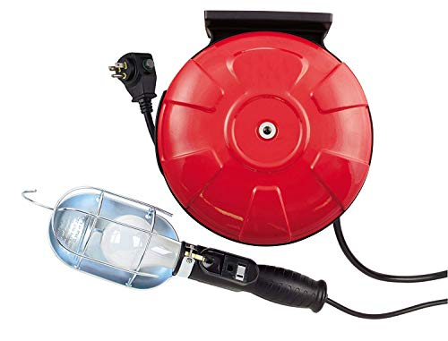 (Woods 48000 16/3 SJTW Metal Cord Reel with 75-Watt Trouble Light, Red, 40-Feet)