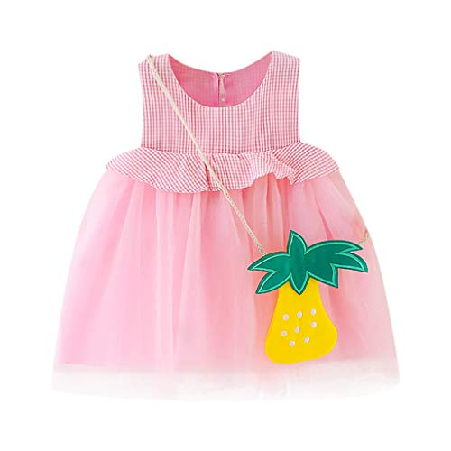 - Hot Toddler Kid Baby Girl Sleeveless Tutu Summer Plaid Fruit Printed Tulle Party Princess Dress Cute Clothing (Pink, 18-24 Months)