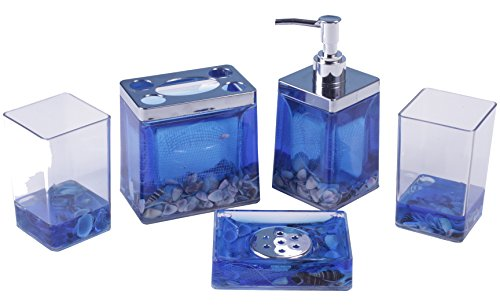 AMC 5pc Acrylic Bathroom Accessory Set w/ Ocean and ocean shell Design, Blue