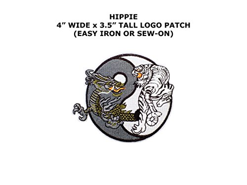 Yin-Yang Tiger & Dragon Bohemian Hippie Peace Embroidered Iron/Sew-on BOHO Theme Logo Patch/Applique By (Tigers Embroidered Towel)