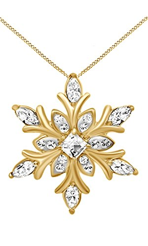 Jewel Zone US White Cubic Zirconia Snowflake Pendant Necklace in 14k Yellow Gold Over Sterling Silver ()