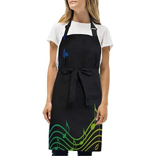 HJudge Womens Aprons Rainbow Music Spectrum Pinterest Kitchen Bib Aprons with Pockets Adjustable Buckle on -