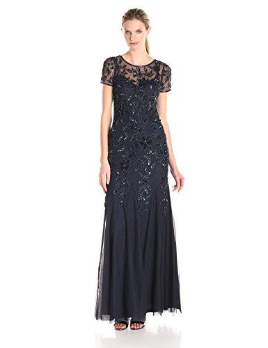 Adrianna Papell Women's Floral Beaded Godet Gown, Twilight, 2 (Godet Dress Hem)