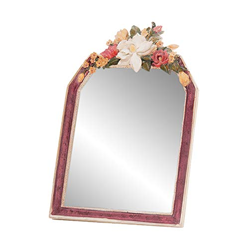 - GUOWEI Mirror Wall-Mounted Bathroom Parlor Desktop Makeup High-Definition Carved Framed Retro (Color : Multi-Colored, Size : 23.7x31cm)