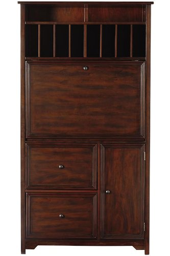 Bookcase Secretary Desk - Oxford Tall Secretary Desk, 1-DOOR/2-DRAWER, CHESTNUT