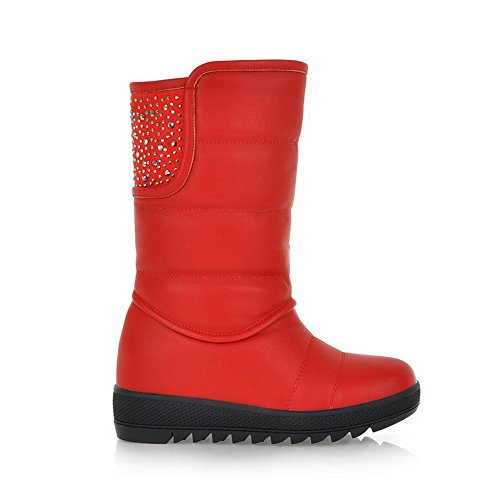 Red AmoonyFashion US B Round Toe and M PU 7 Heels Low with Boots Glitter Closed Soft Solid Womens Material Rhinestones 5 rRZr4