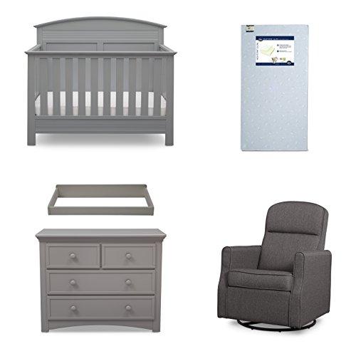 Serta Ashland 5-Piece Nursery Furniture Set (Serta Convertible Crib, 4-Drawer Dresser, Changing Top, Serta Crib Mattress, Glider), Grey (Furniture Package Deals Online)