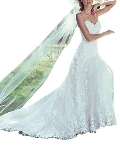 GEORGE Sweetheart Classica Avorio merletto da Abito BRIDE sposa piena del OfAOrq