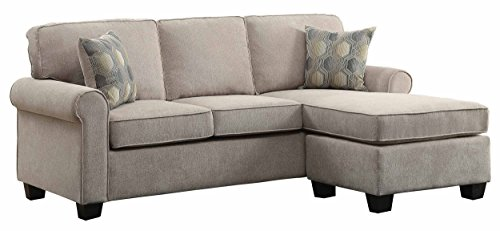 "Homelegance Clumber 82"" Reversible Sectional with Accent Pillows, Beige from Homelegance"