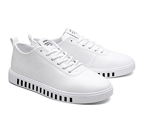 WZG Los zapatos nuevos zapatos deportivos de encaje zapatos planos casuales y cómodas chicos jóvenes White