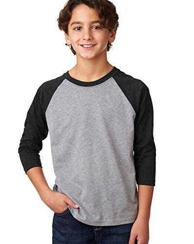 Poly Youth T-shirt - Next Level Youth CVC 3/4 Sleeve Raglan Tee, Black Dark Heather Gray, X-Small