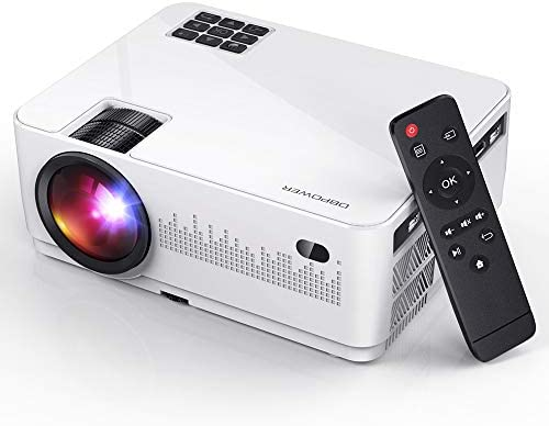 DBPOWER L21 Video Projector, Upgraded 6000L 1080P Supported Full HD Mini Movie Projector with HDMIx2/USBx2, Compatible with Smart phone/PC/TV/PS4/DVD