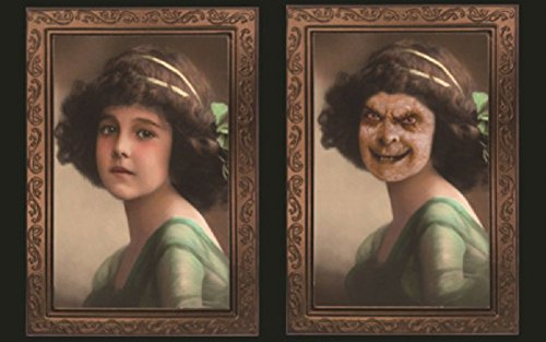 Lingduan Halloween Lenticular 3D Changing Face Horror Portrait Haunted Spooky Halloween Decorative Painting Frame Haunted House Bar Party Props (Horror girl)