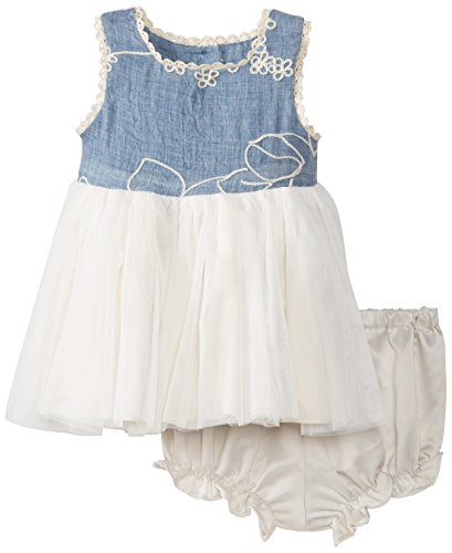 Pippa & Julie Baby-Girls Infant Embroidered Chambray Tulle Dress, Multi-Colored, 0-3 Months