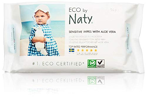 Naty Eco-Sensitive Baby Wipes with Aloe – Resealable Top – 56 ct