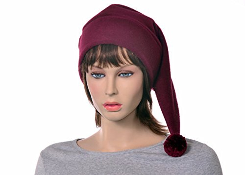 Burgundy Stocking Cap with Pompom Made of (Crimson Merlot)