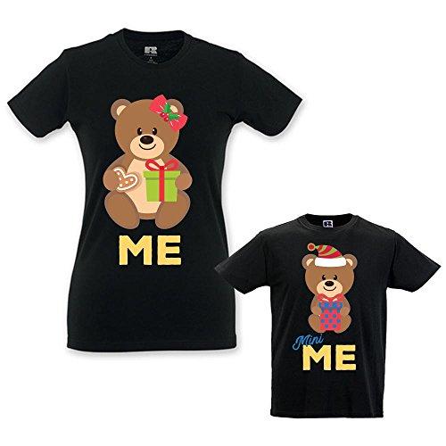 Coppia di T-shirt Mamma Bambino Idea Regalo di Natale Orsetti Family Nere Maschietto Donna XS - Bimbo 9-11 Anni