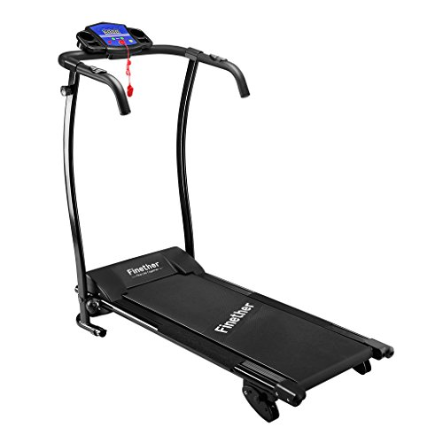 "Finether Folding Electric Motorized Treadmill Running Jogging Walking Machine Portable Gym Equipment for Fitness and Exercise 600W 47.2""x23.6""x48.4"" Black-US"