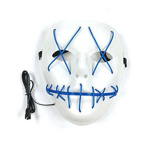 Scary Led Light Up Purge Costumes Glow Stick Party City Mask for Parties Festival Halloween Costume by Magical Imaginary(Blue)