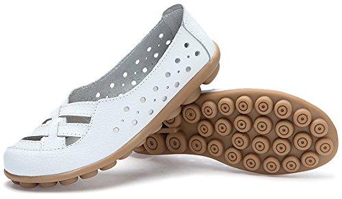 ... Fangsto Kvinners Skinn Loafers Flats Sandaler Slip-on White ...