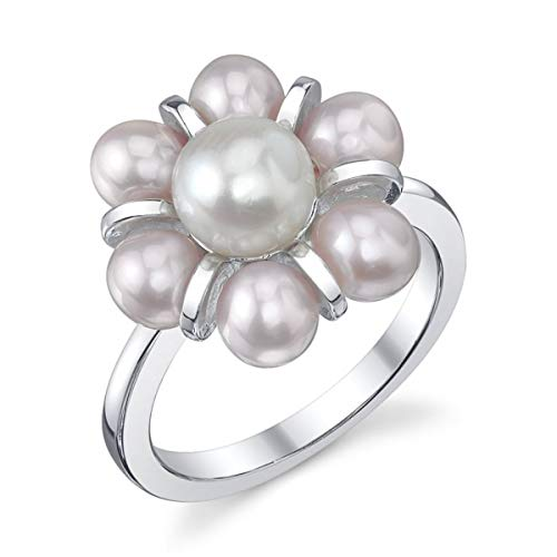 THE PEARL SOURCE 4-5mm Genuine White Freshwater Cultured Pearl Cluster Ring for Women