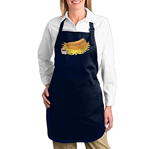 Hot Dog Bun Costume Pattern (HELEN.KOCO Hot Dog With Ketchup Adjustable Restaurant Home Bib Apron With 2 Pockets - Adjustable Neck Strap)
