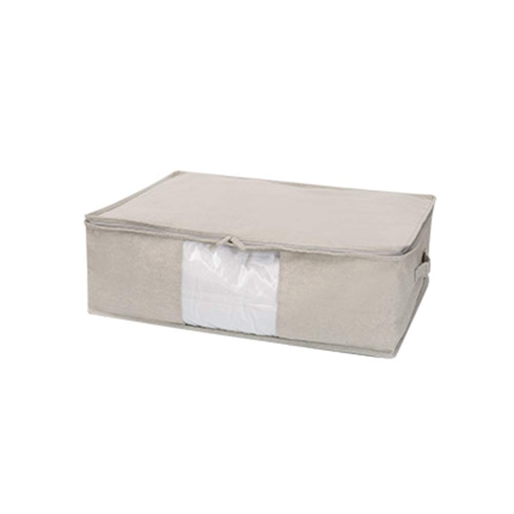 Foldable Fabric Storage Box with Transparent Window Clothes Storage Bag with Handle Zipper Waterproof Box Container for Bed Linings Quilt Blanket Pillow Sweaters,M