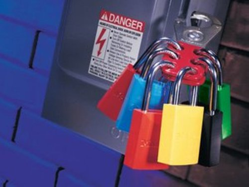 Master Lock Lockout Tagout Hasp, Vinyl Coated Steel Hasp, 1-1/2 in Jaw Clearance, 421