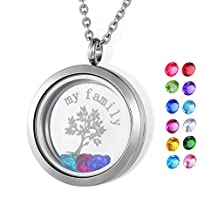 HOUSWEETY 30mm Round Magnetic Closure Floating Living Memory Lockets Pendant Necklace All Charms Include