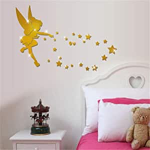 Acrylic mirror wall paste 3D angel in the human three-dimensional mirror paste bedroom decoration laser engraving, Waterproof wall stickers