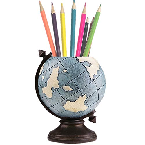 MUAMAX Pen Holder for Desk Globe Blue Pencil Stand Desk Organizer Home Office Decorative Supplies Kids Gifts Vintage Retro Decoration