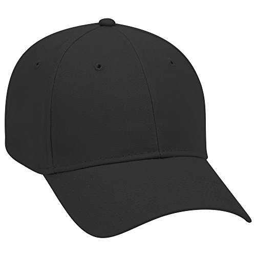 OTTO Brushed Cotton Twill 6 Panel Low Profile Baseball Cap - Black