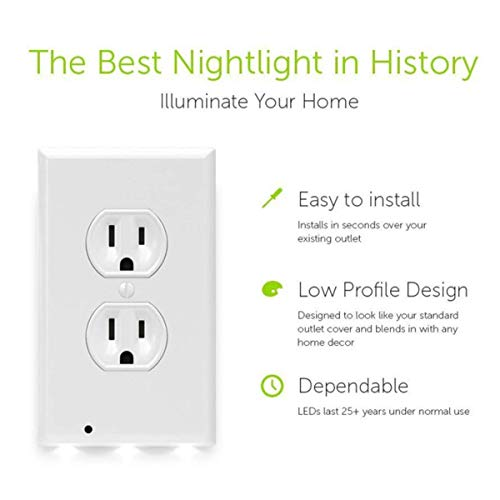 6Pack Illuminated Wall Outlet Plate, LED Night Light Plug Cover with Sensor Inductive Guidelight Easy Snap On No Wire Or Battery Needed Hallway Bathroom Stairway Decor by Sunshine-Light (Image #1)