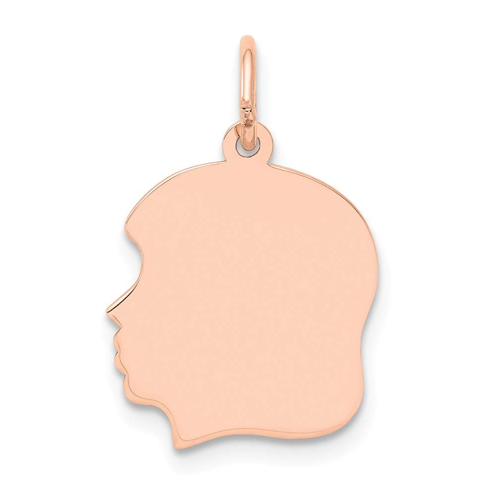 Jewels By Lux 14k Rose Gold Plain Medium .011 Gauge Facing Left Engraveable Girl Head Cha