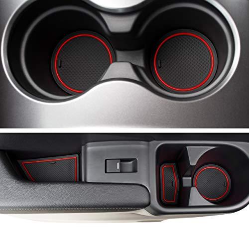 Custom Fit Cup, and Door Liner Acessories for Honda Ridgeline 2019 2018 2017 2020 24PC Kit (Red Trim)