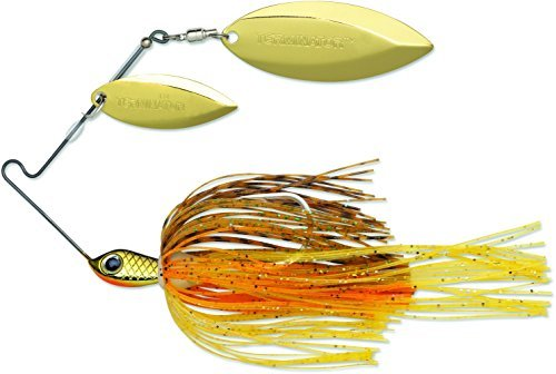TERMINATOR Super Stainless Spinnerbait with Blades Willow/Willow in Gold/Gold, Pumpkin Seed, 1/4 ()