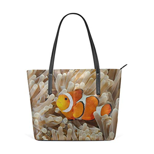 (Laptop Tote Bag Clown Fish Anemone And Clown Large Printed Shoulder Bags Handbag Pu Leather Top Handle Satchel Purse Lightweight Work Tote Bag For Women Girls)